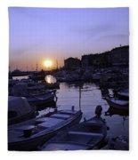 The Sun Goes Down In Rovinj Fleece Blanket