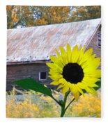 The Sunflower And The Barn Fleece Blanket
