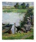 The Thames At Benson Fleece Blanket