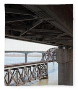 The Three Benicia-martinez Bridges In California - 5d18844 Fleece Blanket