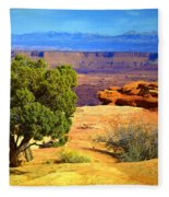The Tree The Canyon And The Mountains Fleece Blanket