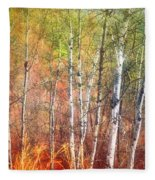 The Trees And The Colour Fleece Blanket