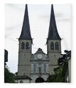 The Twin Spires Of Hof Church In Lucerne Fleece Blanket