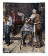 The Village Barber, 1883 Fleece Blanket