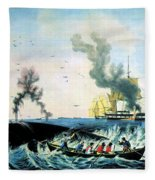 The Whale Fishery, 19th Century Fleece Blanket