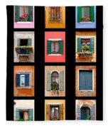 The Windows Of Venice Fleece Blanket