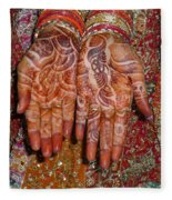 The Wonderfully Decorated Hands And Clothes Of An Indian Bride Fleece Blanket