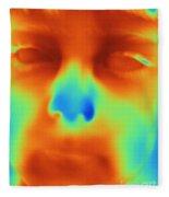 Thermogram Of A Boys Face Fleece Blanket
