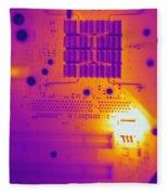 Thermogram Of A Computer Board Fleece Blanket