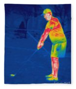 Thermogram Of A Golfer Fleece Blanket