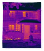 Thermogram Of A Home In Winter Fleece Blanket