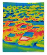 Thermogram Of A Parking Lot Fleece Blanket