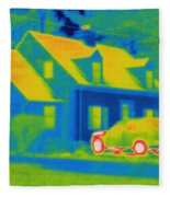 Thermogram Of Car In Front Of A House Fleece Blanket