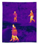 Thermogram Of People Walking Fleece Blanket