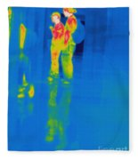 Thermogram Of Students At A Locker Fleece Blanket