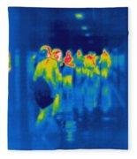 Thermogram Of Students In A Hallway Fleece Blanket