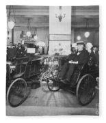 Thomas Edison In Quadricycle Fleece Blanket