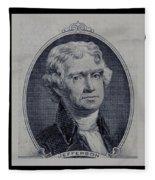 Thomas Jefferson 2 Dollar Bill Portrait Fleece Blanket