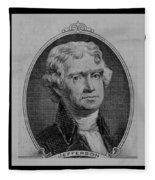 Thomas Jefferson In Black And White Fleece Blanket