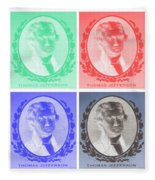 Thomas Jefferson In Negative Colors Fleece Blanket