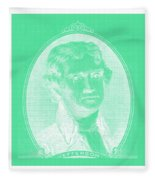 Thomas Jefferson In Negative Green Fleece Blanket
