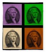 Thomas Jefferson In Quad Colors Fleece Blanket