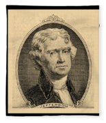 Thomas Jefferson In Sepia Fleece Blanket
