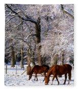 Thoroughbred Horses, Mares In Snow Fleece Blanket