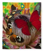 Three Butterflies On Protea Fleece Blanket