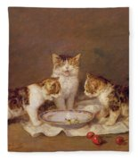 Three Cats - Red Cherries And Bees Fleece Blanket