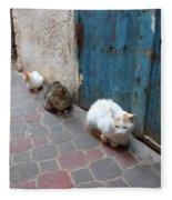 Three Cats In Essaouira Fleece Blanket
