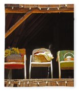 Three Chairs With A View Fleece Blanket