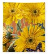 Three Daisy's And Butterfly Fleece Blanket