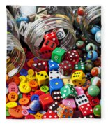 Three Jars Of Buttons Dice And Marbles Fleece Blanket