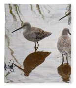 Three Long Billed Dowitchers Fleece Blanket
