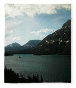 Three Mountains On Many Glacier Lake Fleece Blanket