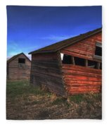 Three Old Red Granaries On The Alberta Fleece Blanket