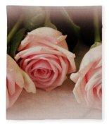 Three Pink Roses Fleece Blanket