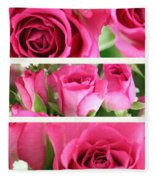 Three Pink Roses Landscape Fleece Blanket
