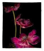 Three Purple Anemones Fleece Blanket