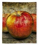 Three Red Apples Fleece Blanket