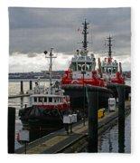 Three Red Tugs Fleece Blanket