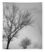 Three Silhouettes In The Rain Fleece Blanket