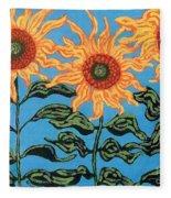 Three Sunflowers IIi Fleece Blanket