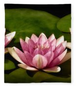 Three Water Lilies Fleece Blanket