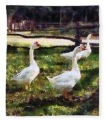 Three White Geese Fleece Blanket