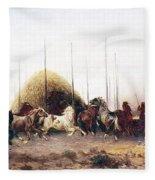 Threshing Wheat In New Mexico Fleece Blanket