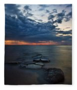 Thunderclouds On The Bay Fleece Blanket