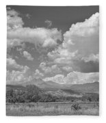 Thunderstorm Clouds Boiling Over The Colorado Rocky Mountains Bw Fleece Blanket