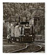 Thurmond Wv Train Sepia Fleece Blanket